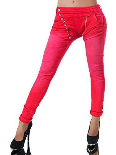 Damen Jeans Hose Baggy Chino rot
