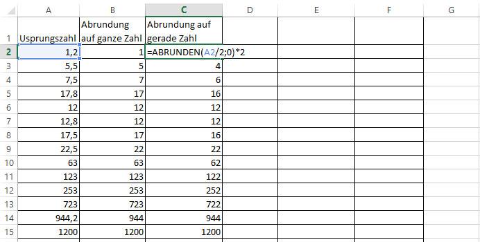 Excel abrundung gerade zahl