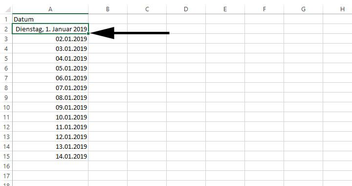 Excel Datum Fortlaufend